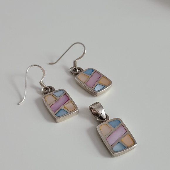 Sterling silver mother of pearl set